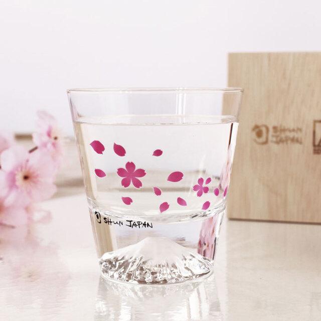 冷感桜舞富士山 ロックグラス