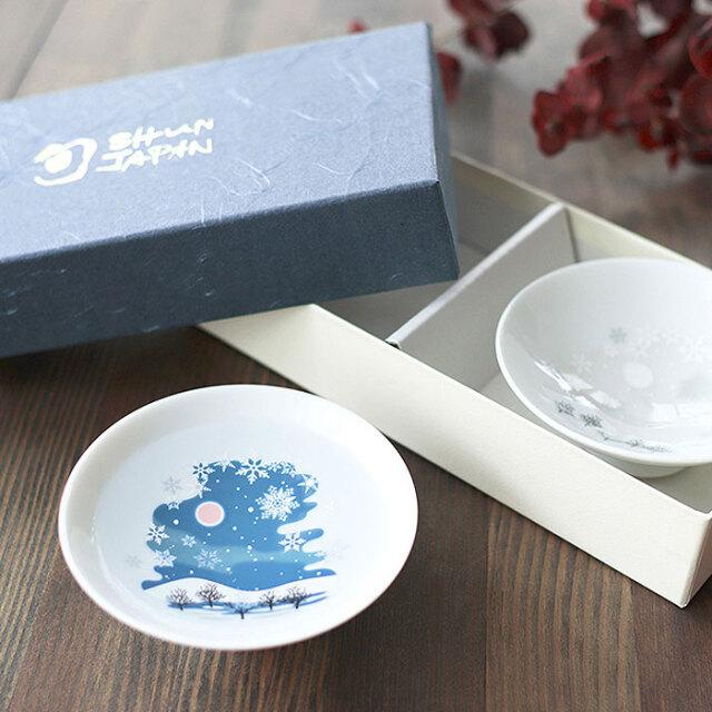 【6/20まで20%OFF】冷感雪結晶 白平盃 ペアセット 箱入 / 丸モ高木陶器