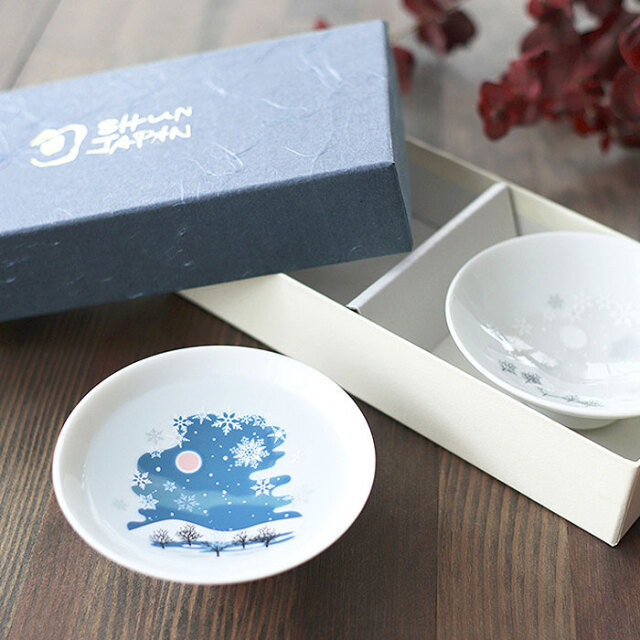 冷感雪結晶 白平盃 ペアセット 箱入 / 丸モ高木陶器