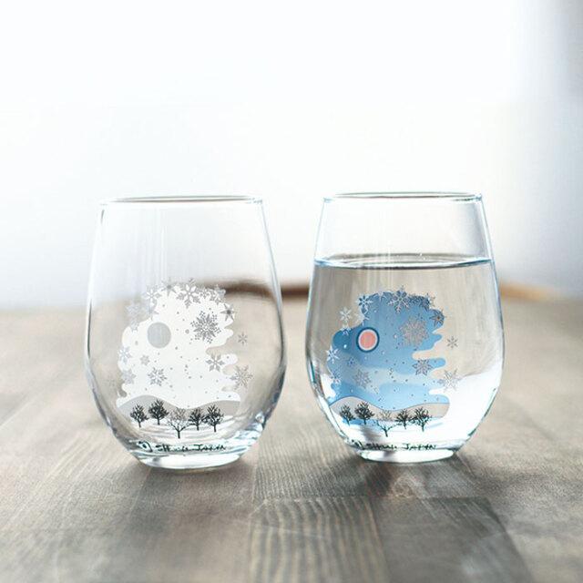 冷感雪結晶 フリーグラス ペアセット 箱入 / 丸モ高木陶器