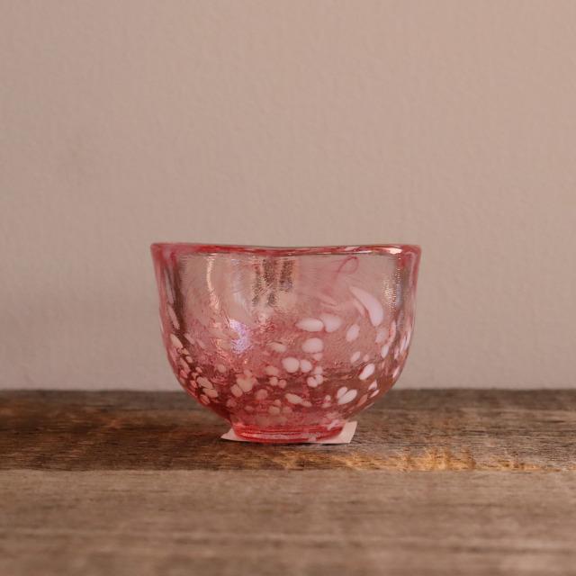 色和ガラス ぐい呑(WA511)  淡紅 60cc /  丸モ高木陶器