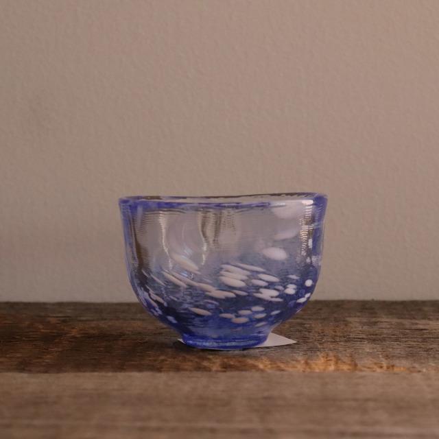 色和ガラス ぐい呑(WA512)  白波 60cc / 丸モ高木陶器