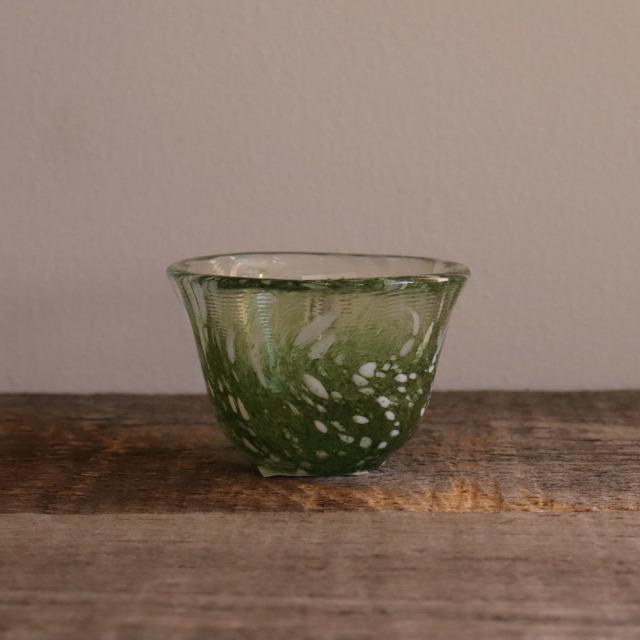色和ガラス ぐい呑(WA514)  若草 55cc/丸モ高木陶器