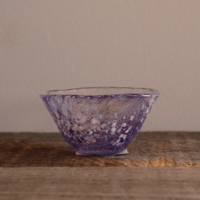 色和ガラス ぐい呑(WA515)  藤 45cc/丸モ高木陶器