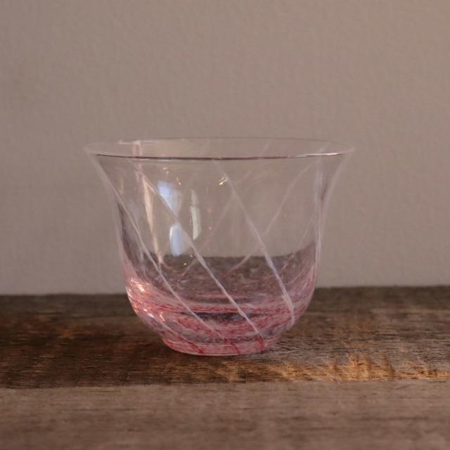 色和ガラス ぐい呑(TJ700) 花桜 70cc / 丸モ高木陶器