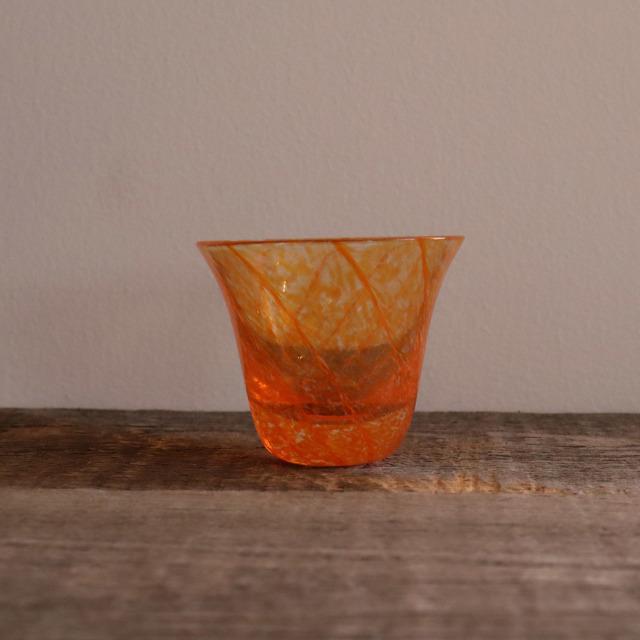 色和ガラス ぐい呑(TJ701)  夕焼け 65cc / 丸モ高木陶器