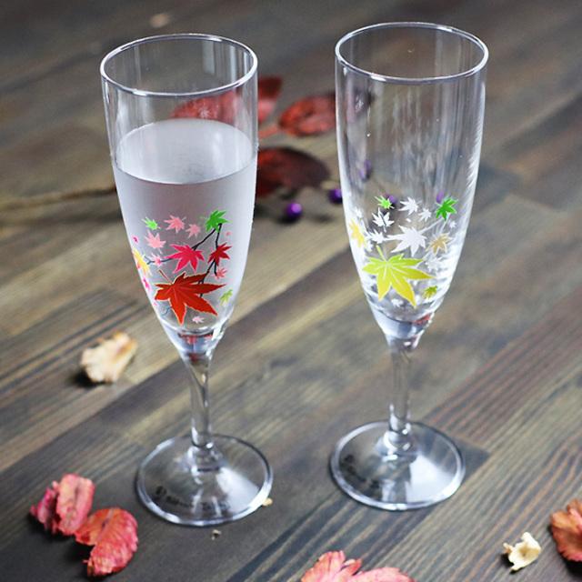 冷感紅葉 シャンパングラス ペアセット 箱入/ 丸モ高木陶器