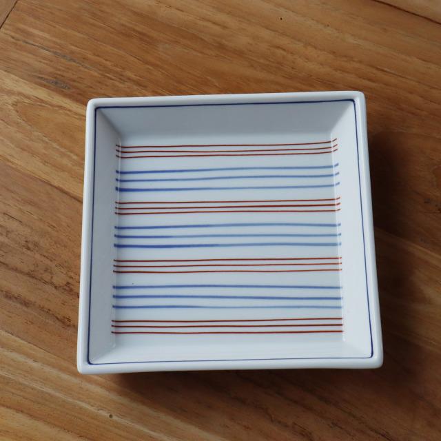 染茶線四角皿/丸モ高木陶器