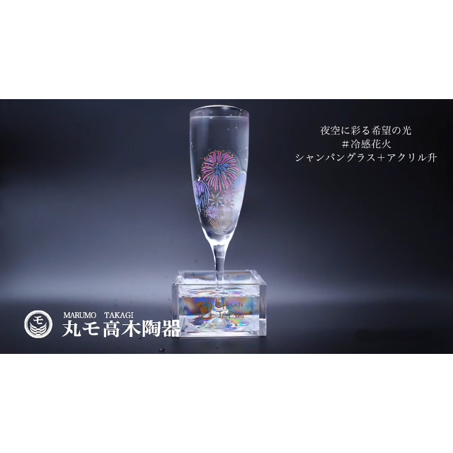 冷感花火 シャンパングラスペアセット 165cc/丸モ高木陶器
