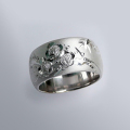 縁起物 銀製和彫り リング(松竹梅)