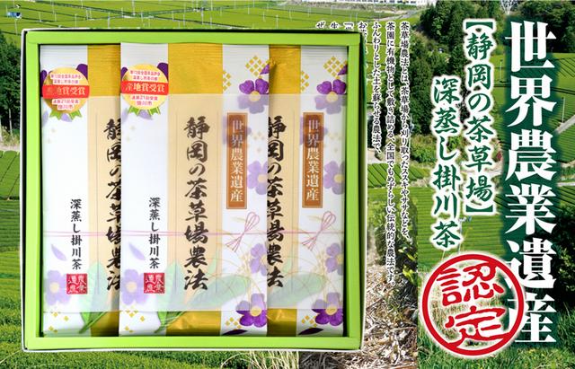 【新茶】世界農業遺産【静岡の茶草場農法】深蒸し掛川茶100g3袋セット【発送:2019年5月7日頃から】【ラッピング有り】