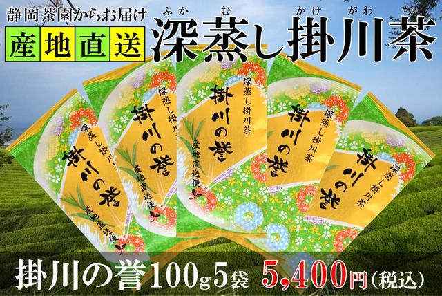 深蒸し掛川茶の掛川の誉100g5袋セット