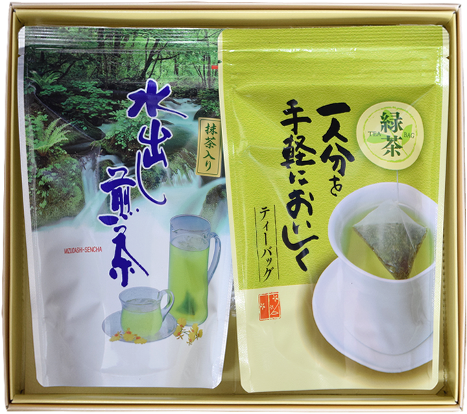 【快気祝い・お見舞御礼・退院内祝】お茶ギフト緑茶ティーバッグ4g20入+抹茶入り水出し煎茶ティーバッグ5g15入セット【ラッピング有り】