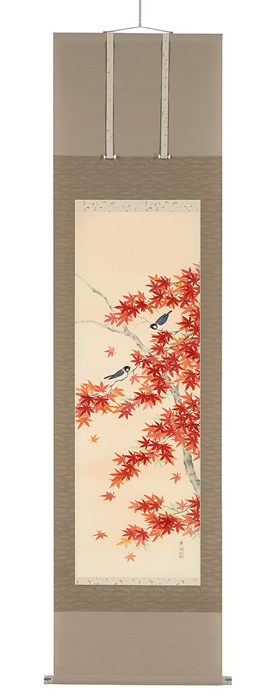 紅葉に小鳥 鈴木秀湖(直筆) 掛軸(掛け軸)