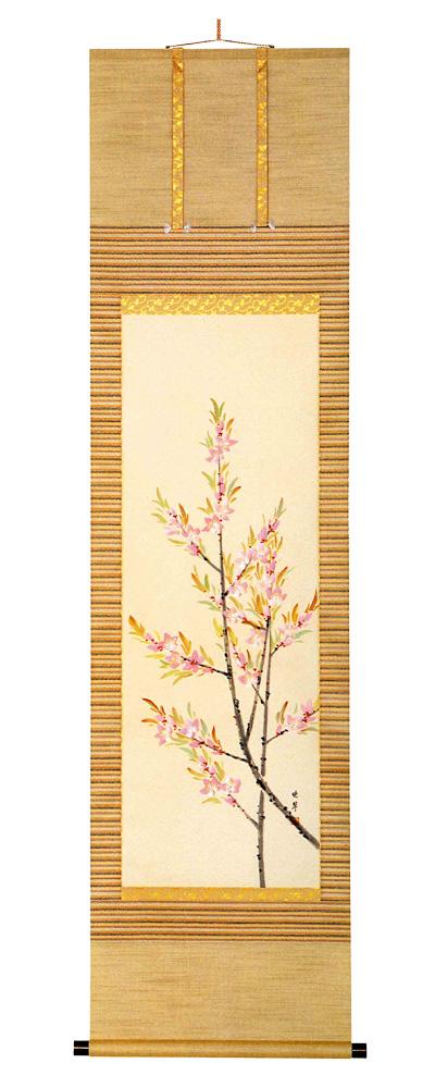 桃の花 尾上 晩翠(直筆) 掛軸(掛け軸)