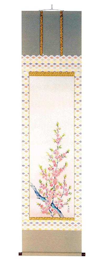 桃の花 鈴木秀湖(直筆) 掛軸(掛け軸)