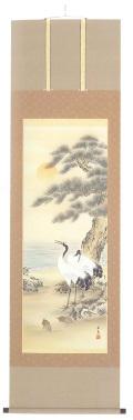 鶴亀 滝山玉泉(直筆) の掛軸(掛け軸)