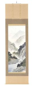 彩色山水 森 邦堂(直筆) の掛軸(掛け軸)