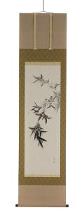 竹に雀 尾上晩翠(直筆) 掛軸(掛け軸)画像