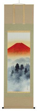 赤富士山水 尺五立 高橋長流【直筆作品】