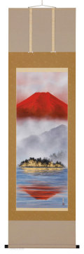 湖上朱映富士 岩田東嶺【直筆作品】