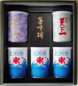 鶴見園の看板商品「天下一」とティーバッグ「夏煎茶」の詰め合わせです