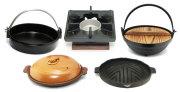 四角いろりコンロとグリル・陶板・すき焼き鍋・いろり鍋