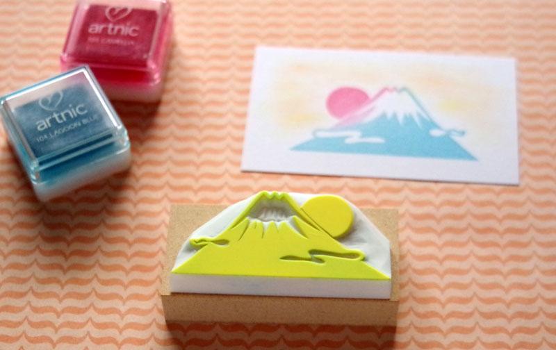 富士山の消しゴムはんこ