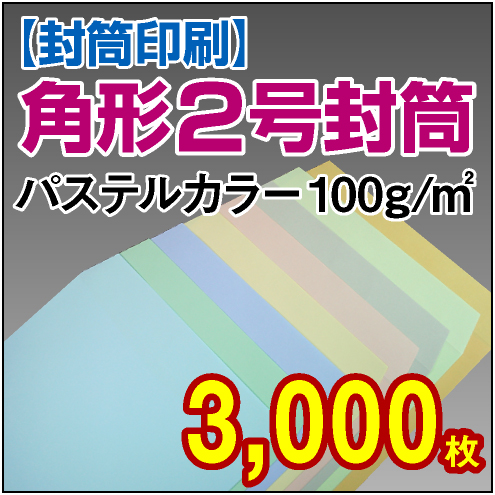 封筒印刷 | 角形2号封筒 パステルカラー〈100〉 3,000枚