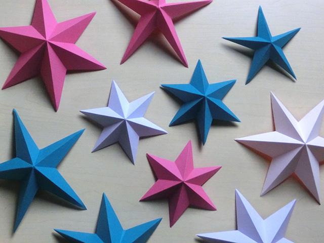 マーメイド紙で作った立体星形