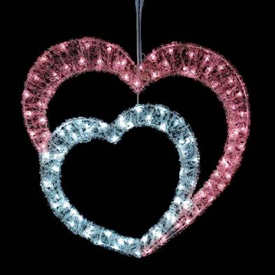 東京大西造花装飾/耐水60cm110球広角型LEDホワイトピンクグローハート/DILI61201