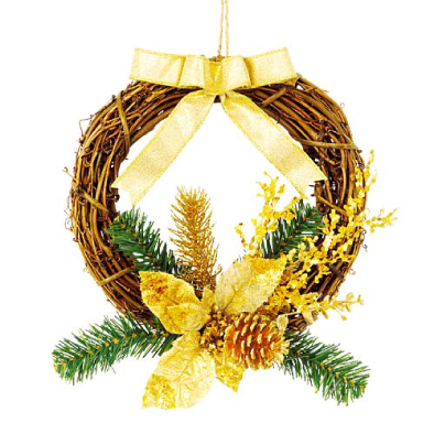 東京大西造花装飾/25cmゴールドリボンポインセチアリース/DIWR61010