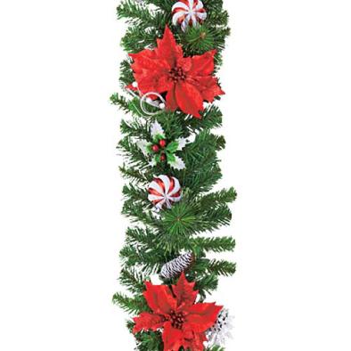 東京大西造花装飾/防炎180cmレッドポインドリーミーボールガーランド/DIGA61015