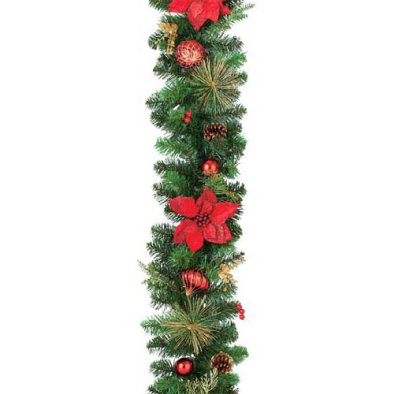 東京大西造花装飾/防炎180cmレッドポインセチアオーナメントガーランド/DIGA61019