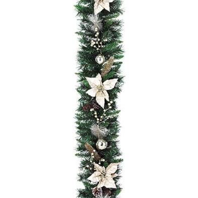 東京大西造花装飾/防炎180cmシャンペーンゴールドポインセチアガーランド/DIGA61009