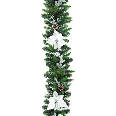 東京大西造花装飾/防炎180cmオーロラシルバーポインセチアガーランド/DIGA61007