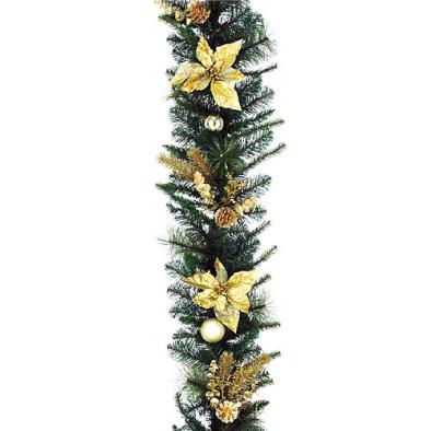 東京大西造花装飾/防炎180cmゴールドポインセチアパインガーランド/DIGA61010