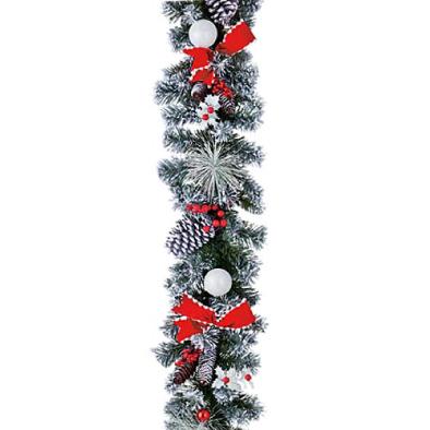 東京大西造花装飾/防炎180cmレッドリボンスノーパインガーランド/DIGA61016