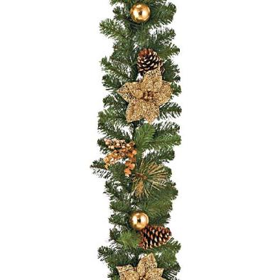 東京大西造花装飾/防炎180cmゴールドシアーポインセチアボールガーランド/DIGA61012