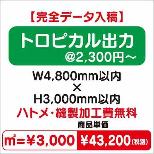 トロピカル出力/ハトメ・縫製加工費無料/W4,800×H3,000
