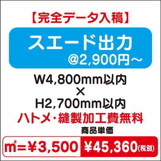 スエード出力/ハトメ・縫製加工費無料/W4,800×H2,700