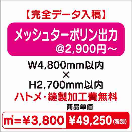 ターポリン出力/ハトメ・縫製加工費無料/W4,800×H2,700