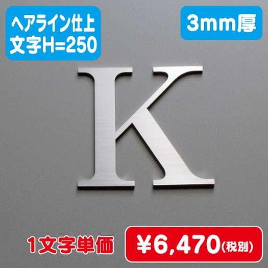 ステンレス切文字/ヘアライン仕上げ/3mm厚/文字H=250