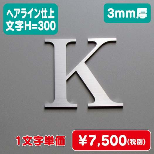 ステンレス切文字/ヘアライン仕上げ/3mm厚/文字H=300