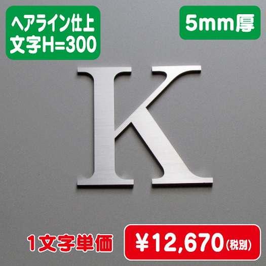 ステンレス切文字/ヘアライン仕上げ/5mm厚/文字H=300