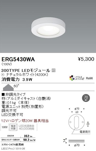 遠藤照明,什器/生鮮食品用照明,薄型ミニダウンライト,Φ70直付,白,300TYPE