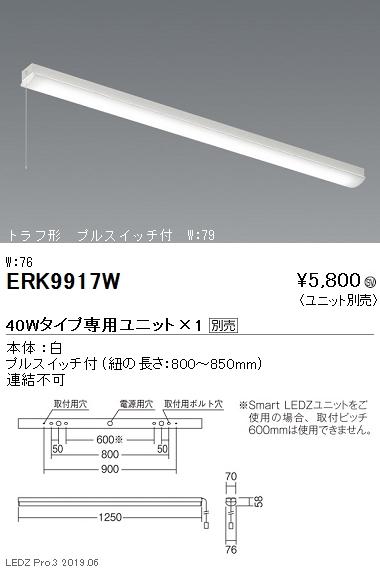 遠藤照明,施設照明,LEDベースライト,本体,直付トラフ形,プルスイッチ付,40Wタイプ,W:76,ERK9917W