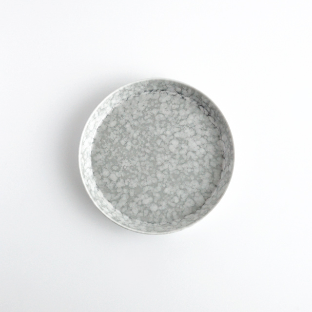 反りプレート グレーマットホワイト 金善製陶所
