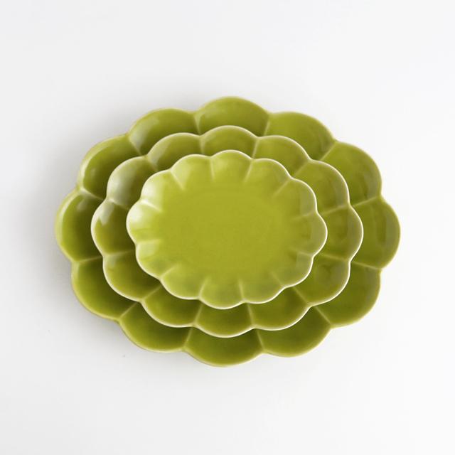 楕円菊割皿 ヒワオリベ 金善窯 有田焼