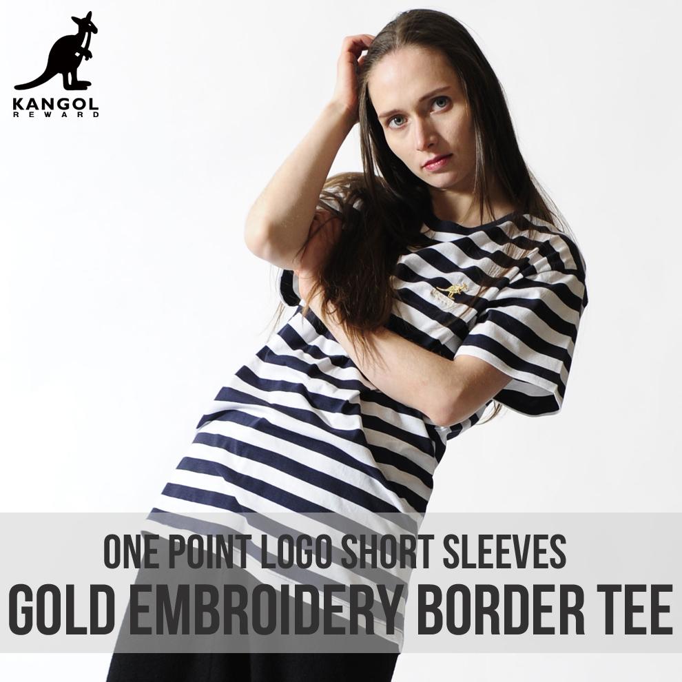 KANGOL REWARD 金糸刺繍ワンポイントロゴボーダーTシャツ
